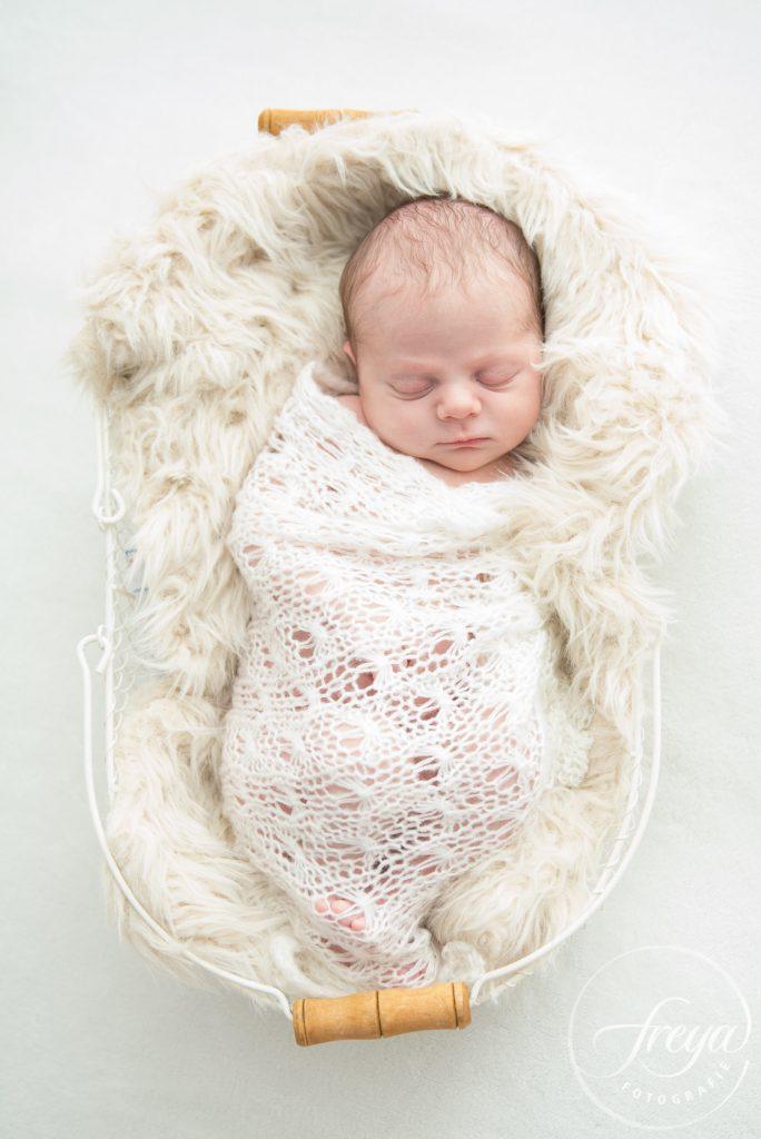 new born baby in wit mandje