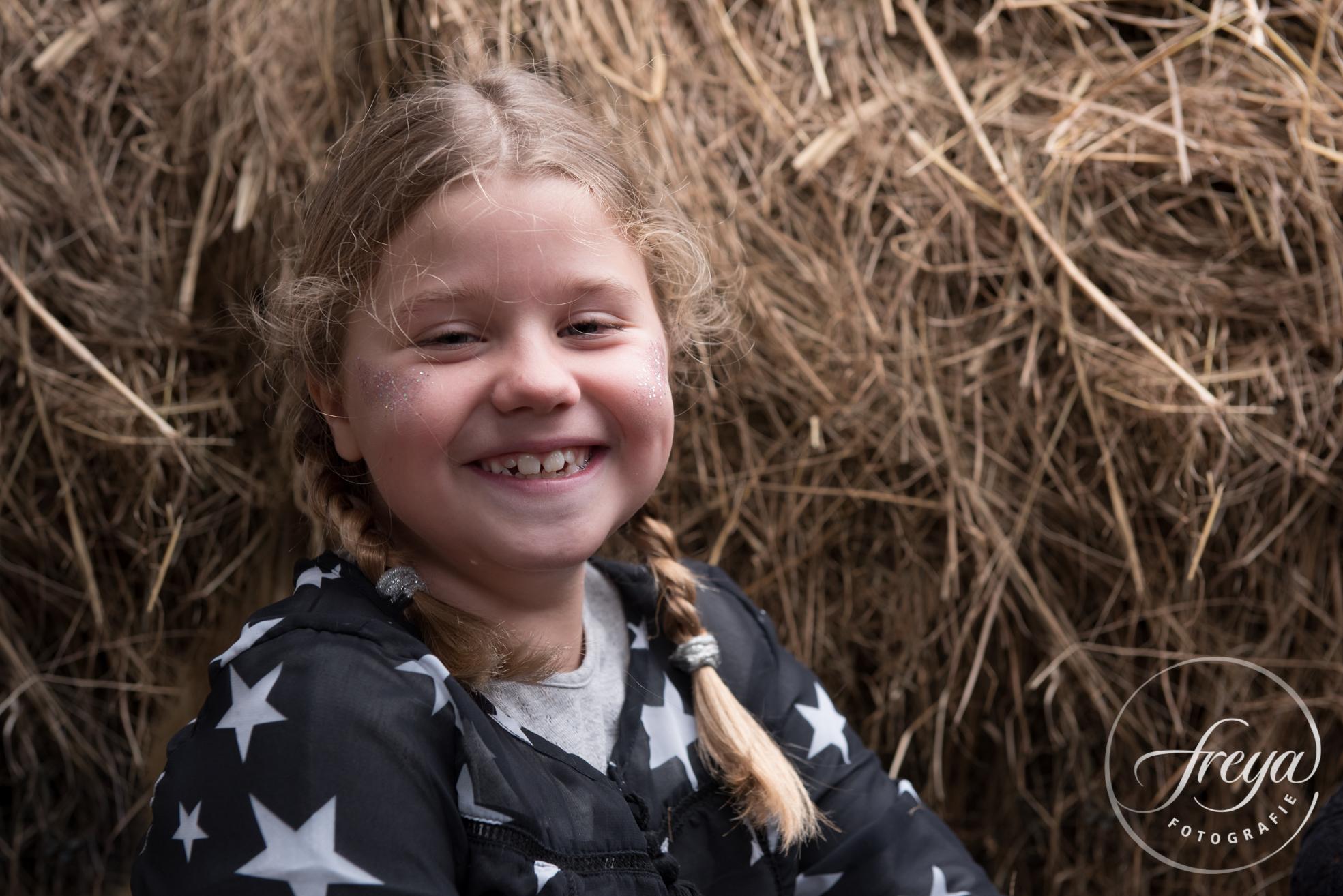 Krullebol en lachebek met vrolijke vlechtjes in het hooi