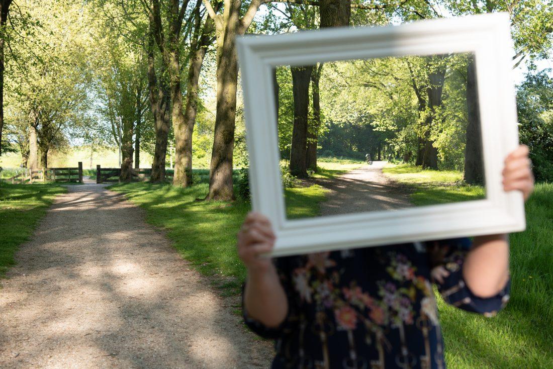 Pad in park en pad in spiegel
